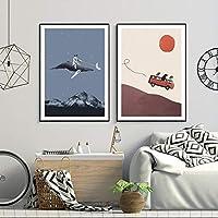 北欧の漫画のポスターとプリント3匹の犬アドベンチャーギャングゴーザムーンキャンバス絵画壁の写真子供の寝室の家の装飾50x70cmx2-フレームなし