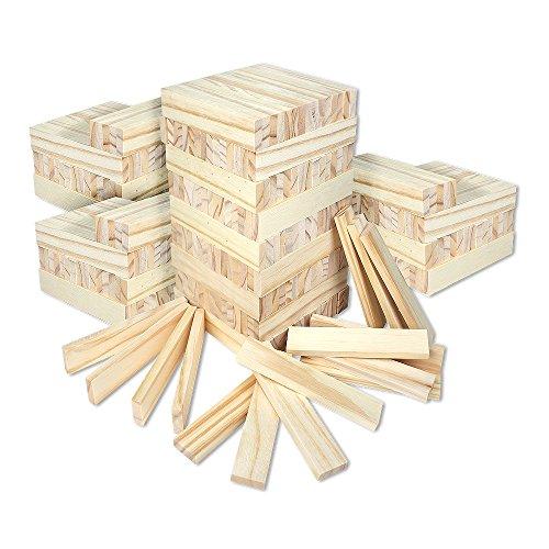 Schramm® 300 Stück Holzbausteine für Kinder Holzklötzer Holz Klötzer Bausteine Puzzle Baustein Holzbaustein Holzbaukasten 300er Pack