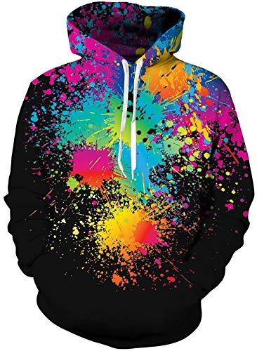 Loveternal 3D Hoodie Herren Paint Kapuzenpul Coole Pullover Langarm Fleece Sweatshirt für Teen Jungen Mädchen M