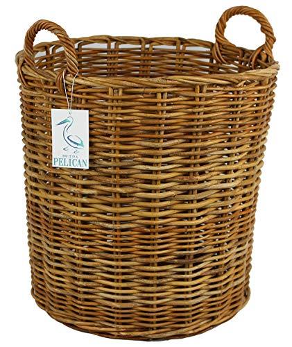Cestas redondas de mimbre de la colección Pescara. Solución de almacenamiento para el hogar. Papelera abierta para madera, chimeneas, ropa, troncos, leña, lavandería y juguetes (58 ltr)