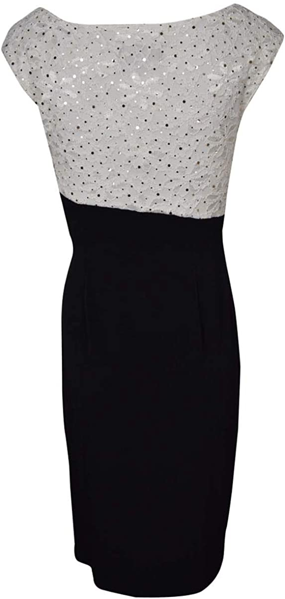 Sequined Flecked Faux Wrap Lace Jersey Dress