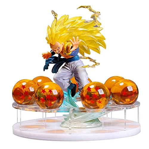 Figuras de Dragon Ball Z Luz de noche LED Serie DBZ Estatua de personajes Resina Bola de cristal Shenron Lámparas de mesa Impresión 3D PVC Anime Iluminación de escritorio Alimentación USB (Gotenks)