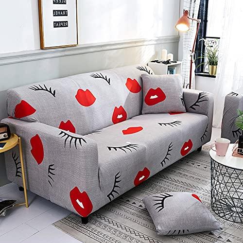 PPOS Geometrischer bedruckter Stretch Sofabezug elastisch für Wohnzimmer Schnittschutzbezug Safa Möbelschutz A5 3 Sitze 190-230cm-1pc-1