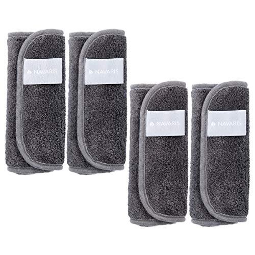 Navaris 4x Mikrofaser Abschminktücher Set - Make Up Handschuh für Lidschatten Lippenstifte - waschbar nachhaltig - Abschmink Lappen in Grau