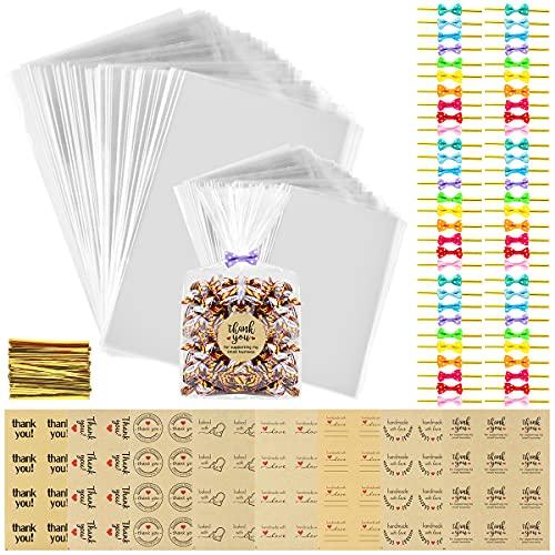 Sac Plastique Transparent 200PCS Sac Sachet Bonbon Pochette avec 96 Étiquettes et 300 Liens Sachet d'emballage Cellophane pour Biscuit Bonbons Perles Chocolats Cadeau Sac OPP 15x20cm et 10x15cm