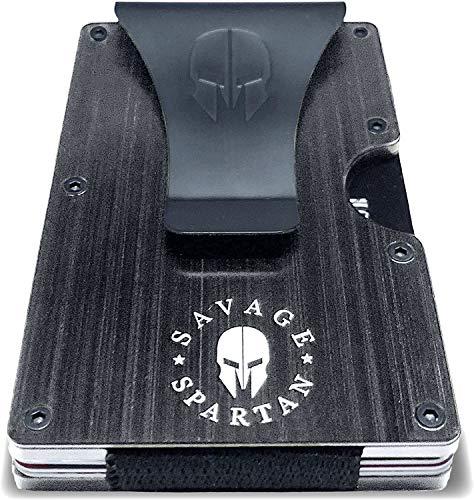Savage Spartan Tactical Wallet | Slim Minimalist RFID Blocking Aluminum Metal Credit Card Holder With Money Clip for Men (Black)