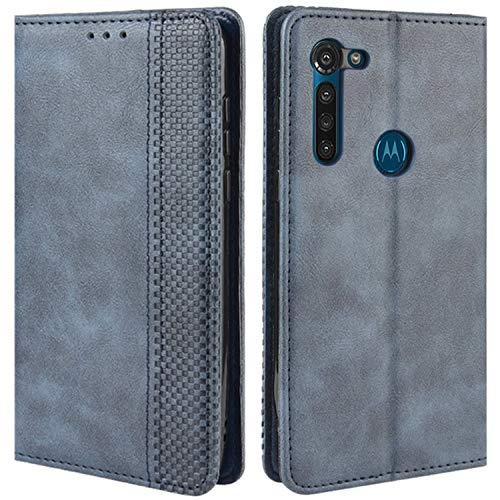 HualuBro Handyhülle für Motorola Moto G8 Power Hülle, Retro Leder Stoßfest Klapphülle Schutzhülle Handytasche LederHülle Flip Hülle Cover für Motorola Moto G8 Power Tasche, Blau