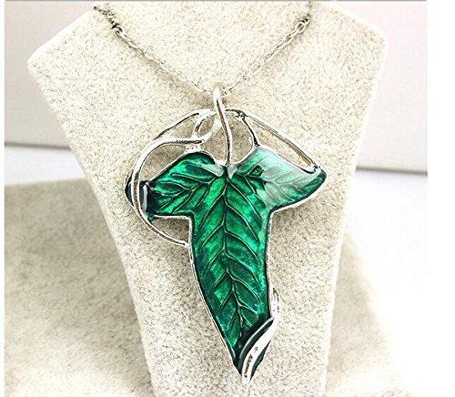 Broche Elfo de hoja verde con collar de cadena, el Señor de los anillos, hoja verde, broche de hoja verde