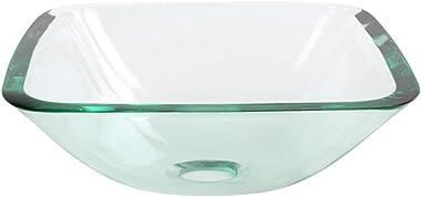Renovators Supply Talula Corner Glass Wall Mounted Sink Square Shape Wall Hung Bathroom Vessel Sink Crystal Clear Tempered Gl