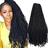 4Packs Natural Faux Locs Crochet Hair Braids 24inch Synthetic Braiding Hair African Locs Braid Collection Straight Goddess Faux Locs Crochet Hair Dreadlocks Medium LOCS Styles (24inch, 1B)