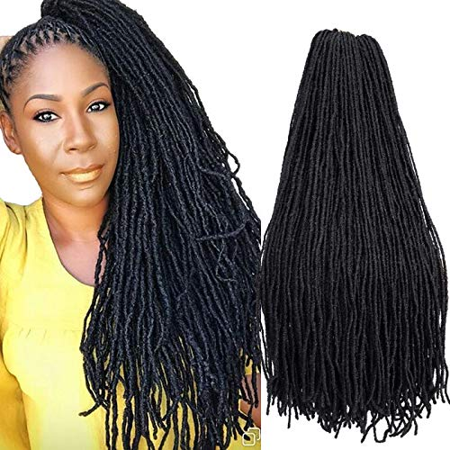 4Packs Natural Faux Locs Crochet Hair Braids 24inch Synthetic Braiding Hair African Locs Braid Collection Straight Goddess Faux Locs Crochet Hair Dreadlocks Mini LOCS Styles (24inch, 1B)