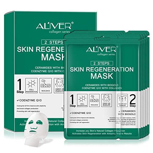 Paquete de 5 mascarillas faciales de colágeno, hidratación profunda e instantánea, con ácido hialurónico, para tener una piel brillante, antienvejecimiento y antiarrugas