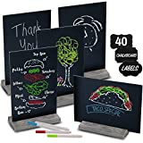 Mini Chalk Board Signs (Set of 5) With 4 Chalk Markers And 40 Chalkboard Labels - Two-Sided Chalkboard Sign for Wedding Table - Multisize 6x9' or 9x6' Blackboard! Small Tabletop Chalkboards with Stand
