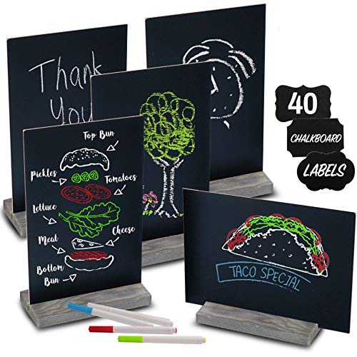 """Mini Chalk Board Signs (Set of 5) With 4 Chalk Markers And 40 Chalkboard Labels - Two-Sided Chalkboard Sign for Wedding Table - Multisize 6x9"""" or 9x6"""" Blackboard! Small Tabletop Chalkboards with Stand"""