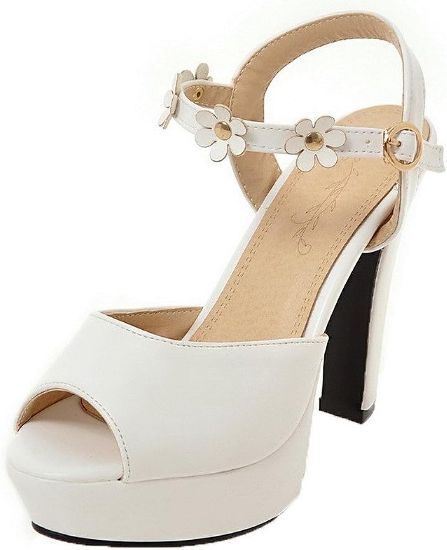 AllhqFashion Women's High-Heels Pu Solid Buckle Sandals, FBULD014327