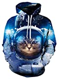 TUONROAD Men's 3D Digital Printing Hoodies Tshirt Blue Astronauts Cat Athletic Big and Tall Hooded Pull Over Sweatshirts for College Juniors School Sport Gym Basketball Baseball
