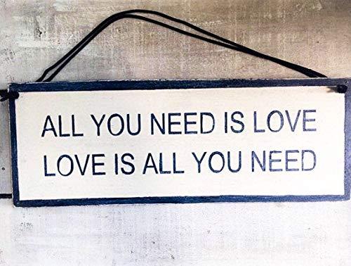 Alles wat je nodig hebt is liefde liefde is alles wat je nodig hebt houten plank opknoping teken slaapkamer teken slaapkamer Decor slaapkamer Art boven bed teken