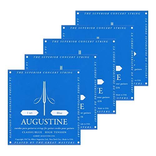 Augustine 5x Blue Saitensatz (Stark) Nylon-Konzert-Klassik-Gitarre-Saiten-Satz