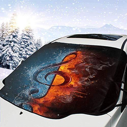 lovely baby-Z Water Fire Music Note - Cubierta para parabrisas de coche, quitahielo, protección de invierno, ajuste universal para coches, camiones, furgonetas y SUV, grueso y grande