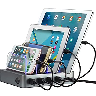 Simicore Charging Station for Multiple Devices, Simicore 4-Port USB Charger Station with 5 Short Mixed Cables for Cell Phones, Smart Phones, Tablets (Space Gray)