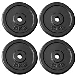 "TILZ GEAR Cast Iron Weight Plates Set 5kg Weight Plate Dumbell Plates - 1"" Dumbbell Handle Bar Barbells Bodybuilding Weight Lifting Home Gym Equipment (4 x 5KG Plates)"