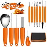 Pumpkin Carving Kit Tools Halloween, Weibus 12PCS Upgrade Professional Heavy Duty Stainless Steel Pumpkin Carving Kit Set for Halloween Decorations,with Zipper Bag