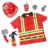 Vecksoy - Disfraz de bomberos para niños, 1 ropa, 1 sombrero y 5 accesorios
