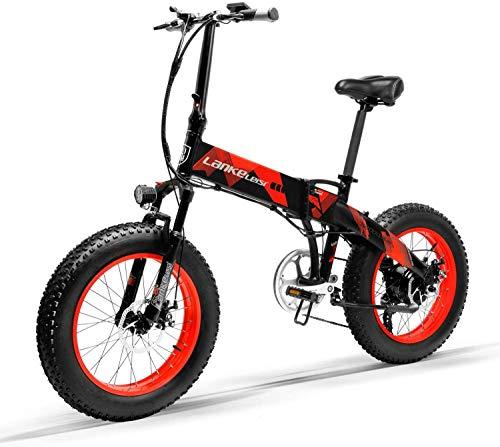 Brogtorl LANKELEISI X2000 20 'bicicleta de grasa plegable e-bike 7 velocidad nieve 48V 12.8ah 1000W motor aleación de aluminio marco 5 PAS mountain bike (rojo)