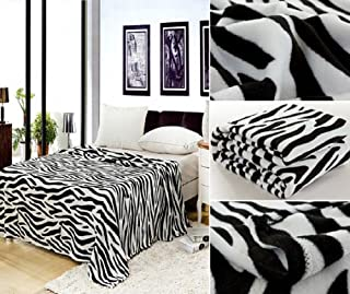 Home Must Haves Zebra Animal Print Safari Bed Blanket Bedding Throw Fleece, Queen Size, Black And White
