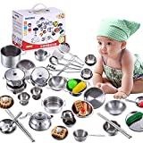 25Pcs Pretend Play Kitchen Cookware Set,Stainless Steel Cookware Playset,Pots Pans Cooking Utensils Set for Kids Toddlers Childrens Christmas,New Year, Holiday, Birthday or Everyday Gifts