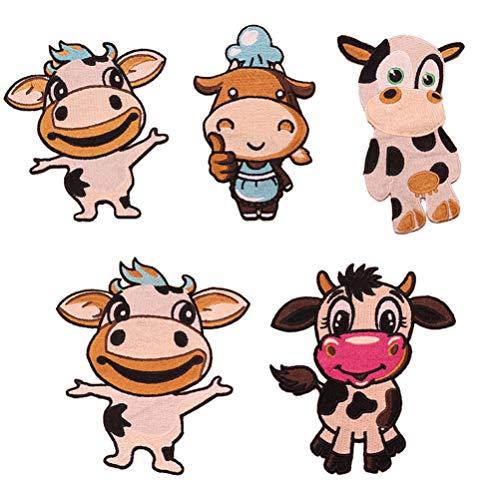 STOBOK 5Pcs Tier Patches Vieh Geformte Pailletten Patches Eisen auf Patches Tier Nähen auf Gestickte Applikationen für Kleidung Hut Jeans DIY Jacken Handwerk
