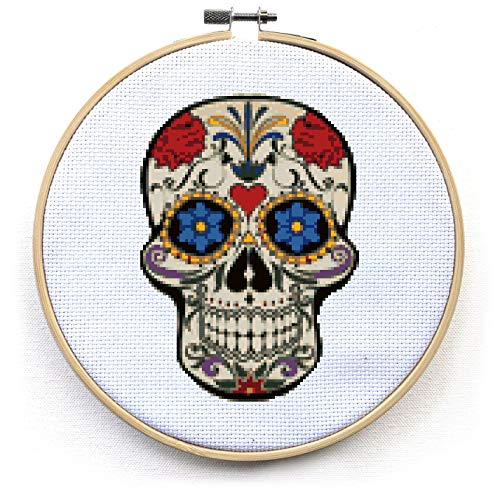 Sugar Skull Cross Stitch Kit - Mandala Day of The Dead - Halloween - Modern Quote Cross Stitch Pattern (Hoop)