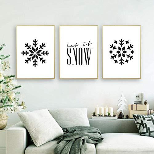Let It Snow Impresiones navideñas Vacaciones de Navidad Vino Arte de la pared Decoración Patrón de copo de nieve Carteles Arte Lienzo Pintura Decoración del hogar 50x70cmx3 Sin marco