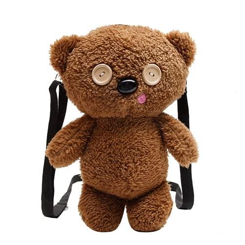 Lindo animal estilo de dibujos animados mochila bebé niños bolso de hombro tela suave bolso de teléfono móvil para adultos monedero (01,25 * 17 * 13CM)