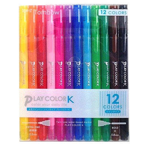 トンボ鉛筆 水性サインペン プレイカラーK 12色 GCF-011