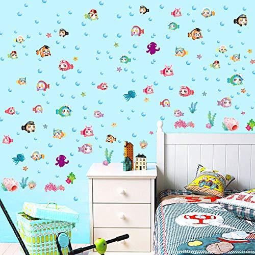 TFOOD muursticker, cartoon vis kinderkamer badkamer tegels glas muurschildering afneembare stickers geschikt voor slaapkamer woonkamer kinderkamer doe-het-zelf huishoudtextiel