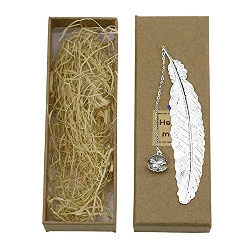 Nosii 1 pz Doratura Oro/Argento Colore Diverso Farfalla Conchiglie segnalibri in Metallo Piuma d'Epoca (Color : Silver Feather+Shell)