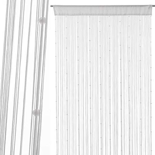 Dream Hogar Cortina Bolas para Puerta Exterior Blanco 90x210 cm