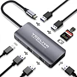 Multi-Port USB Type-C hub with 3 USB 3.0 Port/2 USB 2.0 Ports,100W Power Delivery,SD/TF Card Reader, for MacBook/Pro/Air/iPad,Dell and More USB-C loptop