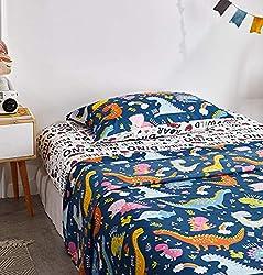 2. Uozzi Bedding Blue Toddler Dinosaur Bedding Set