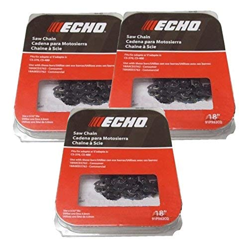 Echo 91PX62CQ-3 Pack of 3 Chainsaw Chain 18 Inches