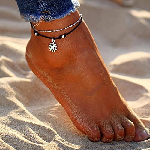 LYWZX Tobilleras Mujer Tobillera De Playa De Verano Tobillera De Cuero De Sol De Múltiples Capas De Color Plateado Antiguo Vintage para Mujer Joyería De Moda A