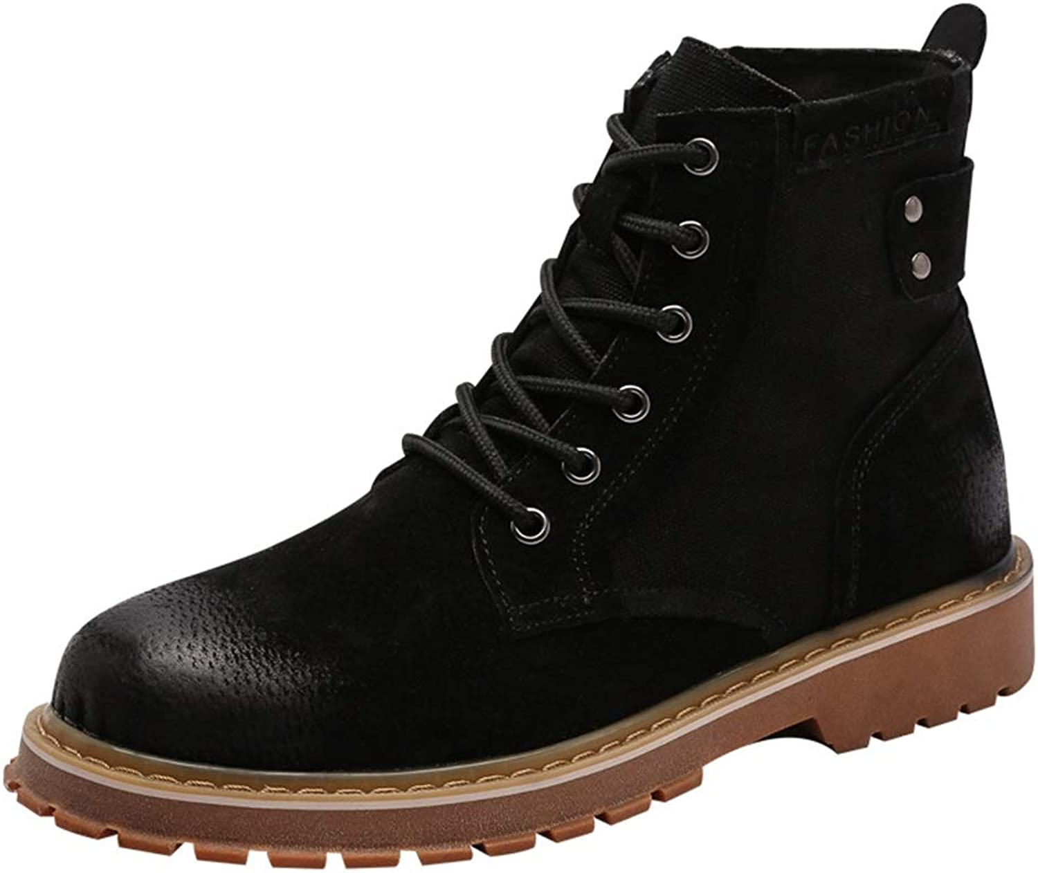 ZHRUI Mens Polished Leather Chukka Boots Soft Sole Non Slip Breathable Durable Boots (color   Black, Size   UK 5.5)