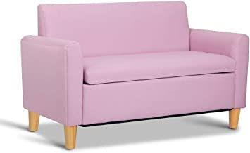 Keezi Kids Sofa Storage Armchair Lounge Pink PU Leather Children Chair Couch