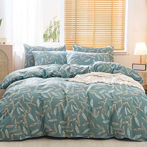 JELLYMONIBranch Leaves Duvet Cover Set White Wheat Ears and Golden Branches Pattern Printed on Green Cotton Duvet Cover Botanical Duvet Cover Queen with Zipper Closure 3pcs Queen Size