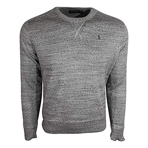 Polo Ralph Lauren Mens Crew Neck Pullover Sweater (Medium, Grey)