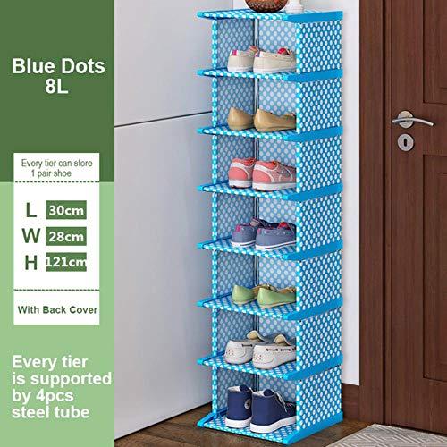 GUIO Vertikaler Schuhregal Abnehmbarer Schuhorganisator Regal Wohnzimmer Eckschuhschrank Home, Blaue Punkte 8L