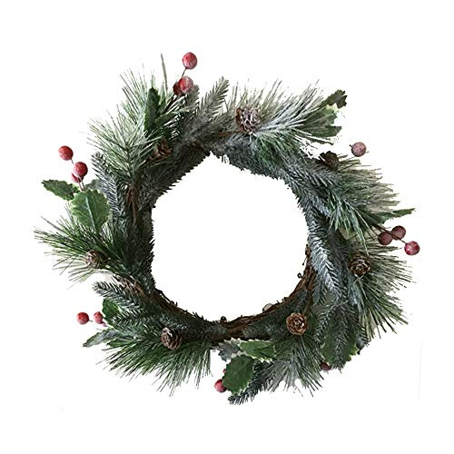 VHVCX Simulation Cedar Christmas Garland Berry Ring Pine Needles Garland Christmas Decoration Snow Ring Interior Decoration Photo 40Cm