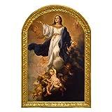 Cuadro decoracion Asunción de la Virgen Maria de Murillo 26x40x1 Decora en todos los espacios, elegante, y distinto, para comedores, salones, dormitorios. Con colgador.