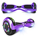 cho Electric Hoverboard Smart Self Balancing Scooter Hover Board Built-in Speaker LED Wheels Side Lights for Kids- Safety Certified (-Chrome Purple)